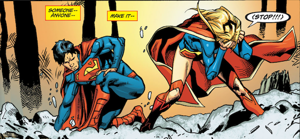 Supergirl suffering.